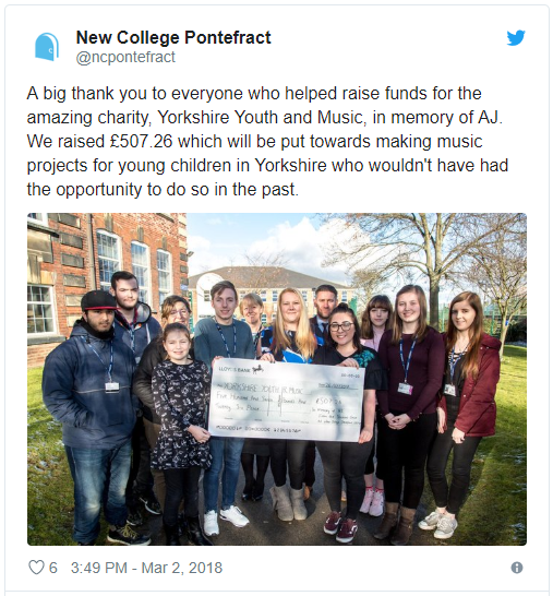 A picture of a tweet sent out by Pontefract College featuring a photo of students and the money they raised for YYM on behalf of a fellow student, AJ