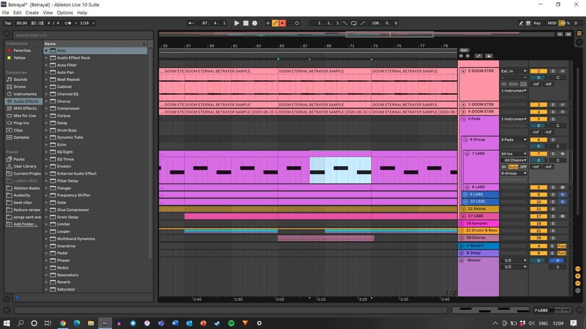 Screenshot of the Ableton software in action