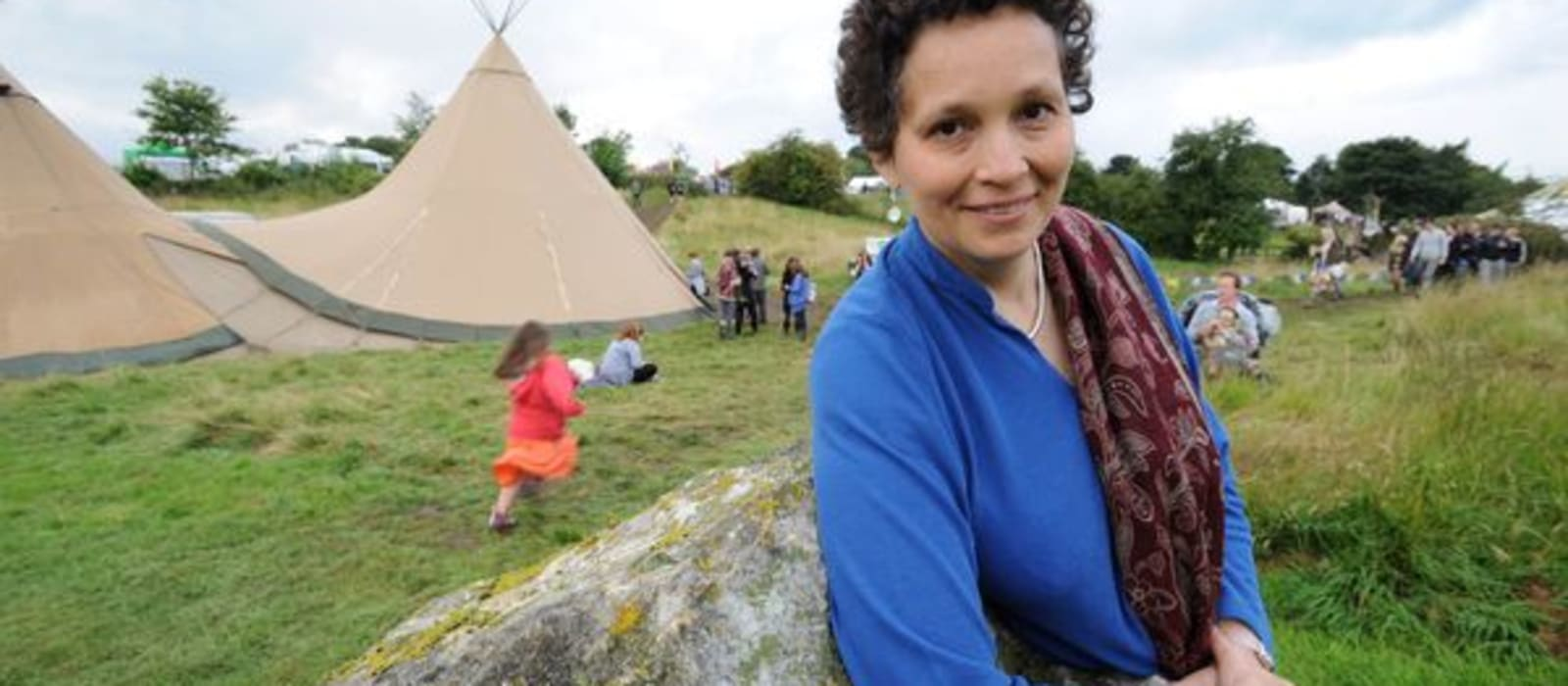 Professional storyteller Sita Brand at the Limetree Festival, Grewelthorpe, near Ripon, North Yorkshire